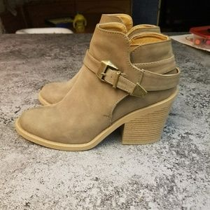 Faux suede tan ankle boots
